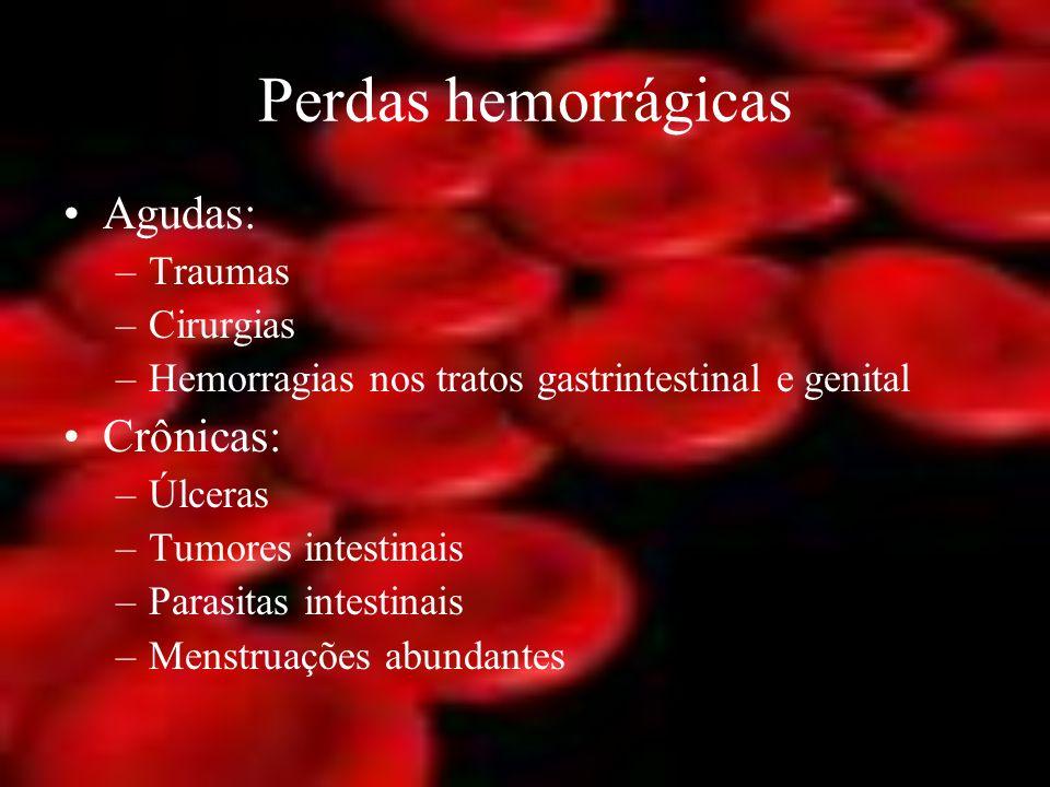 Perdas hemorrágicas Agudas: –Traumas –Cirurgias –Hemorragias nos tratos gastrintestinal e genital Crônicas: –Úlceras –Tumores intestinais –Parasitas i