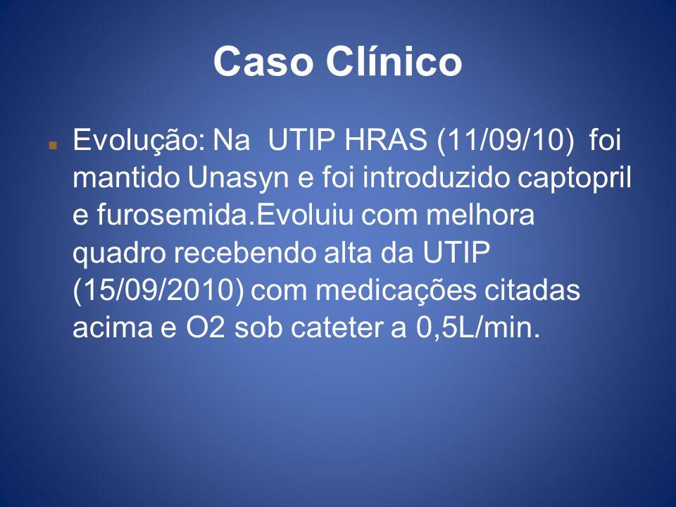 Caso Clínico Evolução: Na UTIP HRAS (11/09/10) foi mantido Unasyn e foi introduzido captopril e furosemida.Evoluiu com melhora quadro recebendo alta d