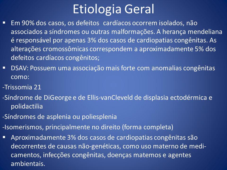 Etiologia Geral Em 90% dos casos, os defeitos cardíacos ocorrem isolados, não associados a síndromes ou outras malformações. A herança mendeliana é re