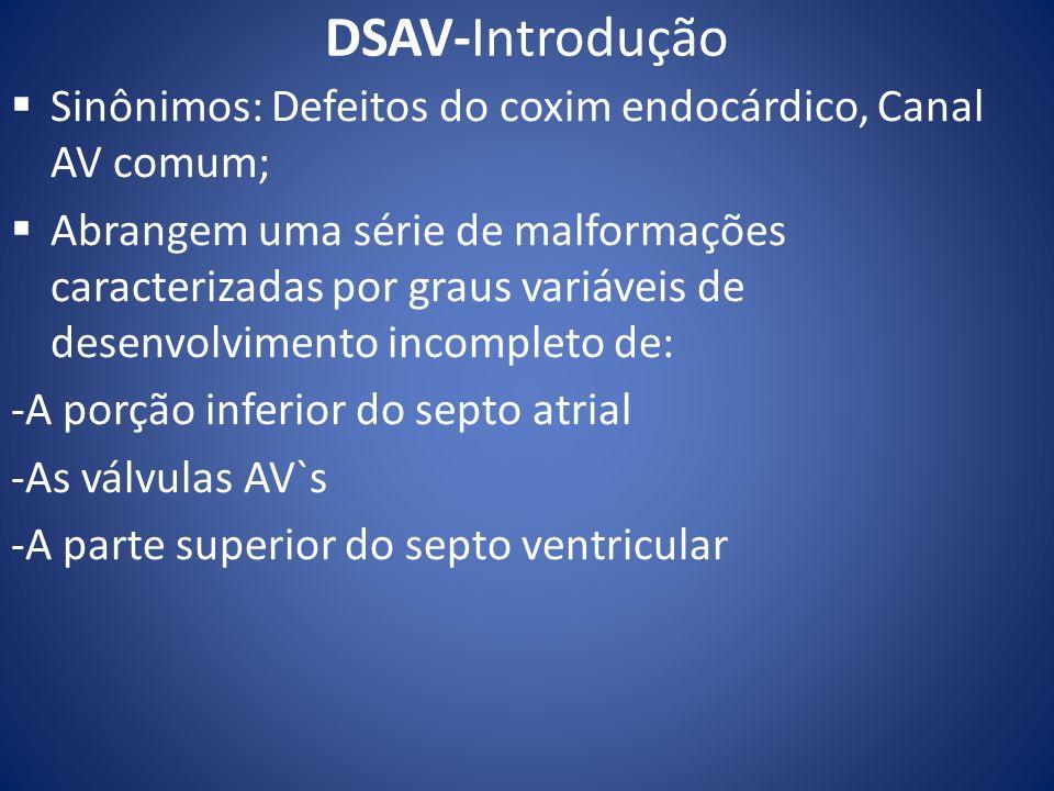 DSAV-Introdução Sinônimos: Defeitos do coxim endocárdico, Canal AV comum; Abrangem uma série de malformações caracterizadas por graus variáveis de des