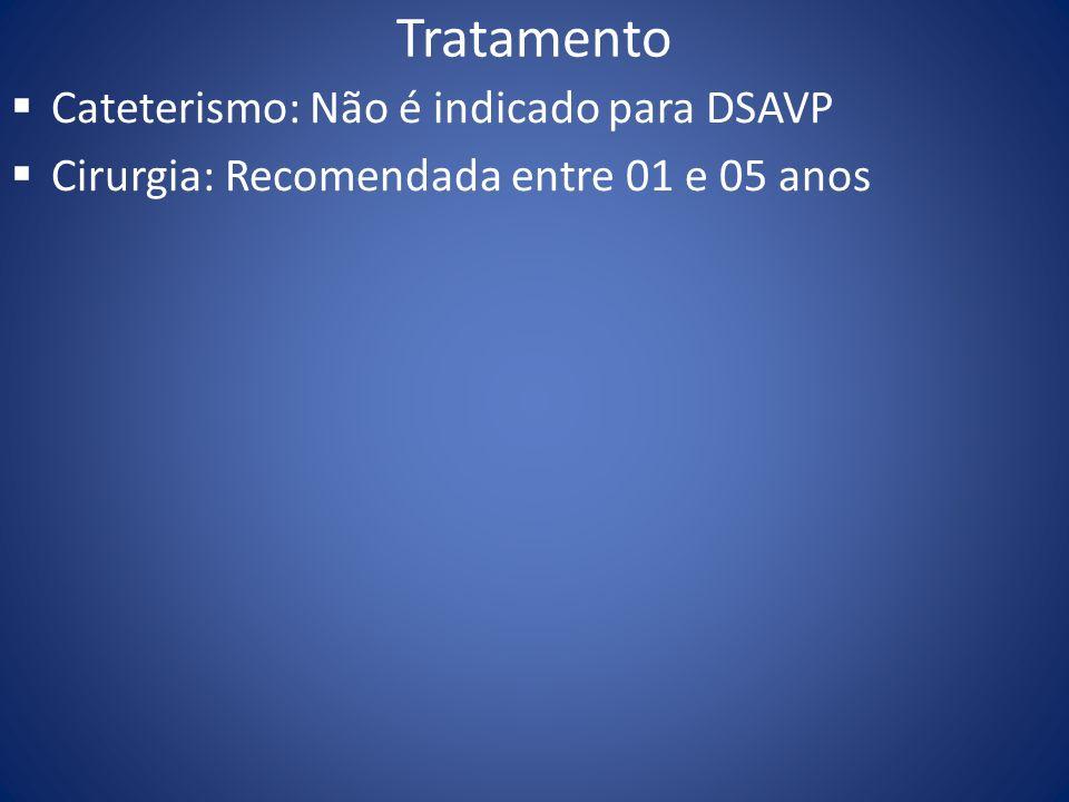 Tratamento Cateterismo: Não é indicado para DSAVP Cirurgia: Recomendada entre 01 e 05 anos