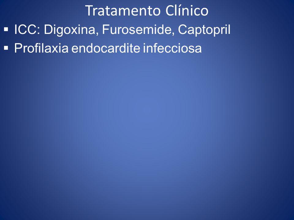 Tratamento Clínico ICC: Digoxina, Furosemide, Captopril Profilaxia endocardite infecciosa