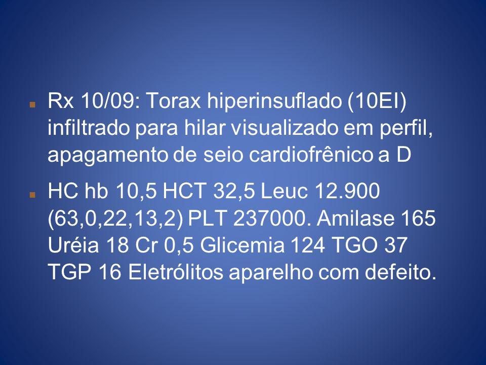 Rx 10/09: Torax hiperinsuflado (10EI) infiltrado para hilar visualizado em perfil, apagamento de seio cardiofrênico a D HC hb 10,5 HCT 32,5 Leuc 12.90