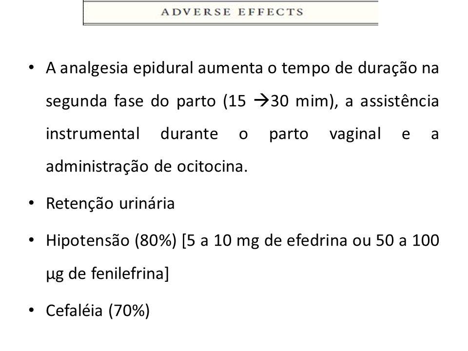 A analgesia epidural aumenta o tempo de duração na segunda fase do parto (15 30 mim), a assistência instrumental durante o parto vaginal e a administr