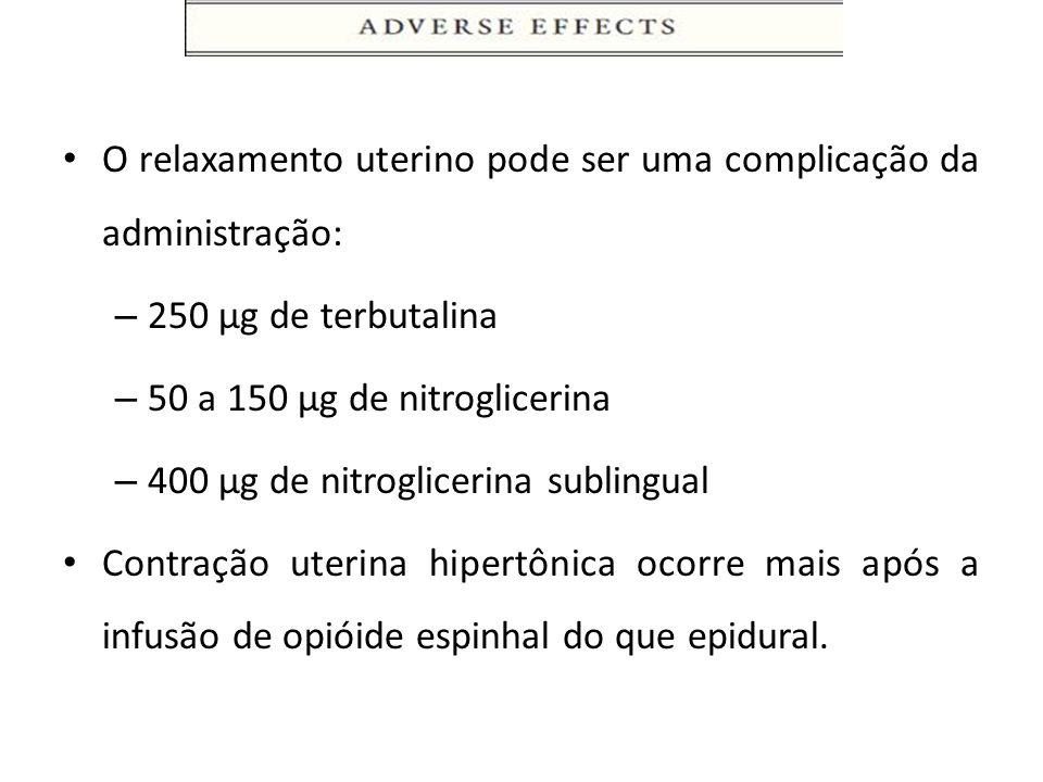 O relaxamento uterino pode ser uma complicação da administração: – 250 µg de terbutalina – 50 a 150 µg de nitroglicerina – 400 µg de nitroglicerina su