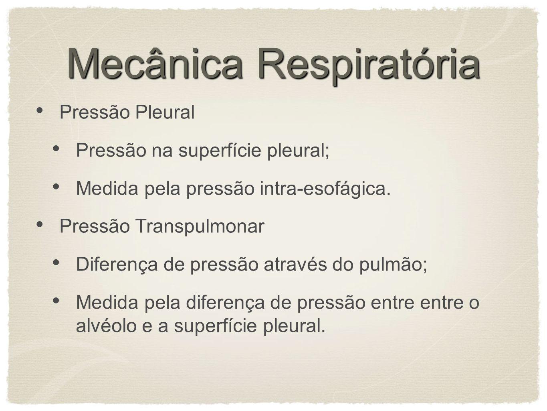 Mecânica Respiratória Pressão Pleural Pressão na superfície pleural; Medida pela pressão intra-esofágica.
