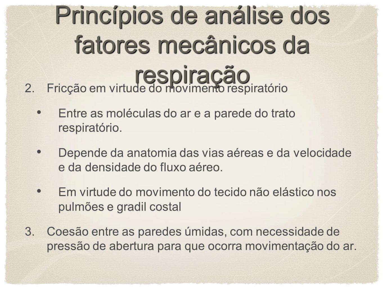 Princípios de análise dos fatores mecânicos da respiração 2.Fricção em virtude do movimento respiratório Entre as moléculas do ar e a parede do trato respiratório.