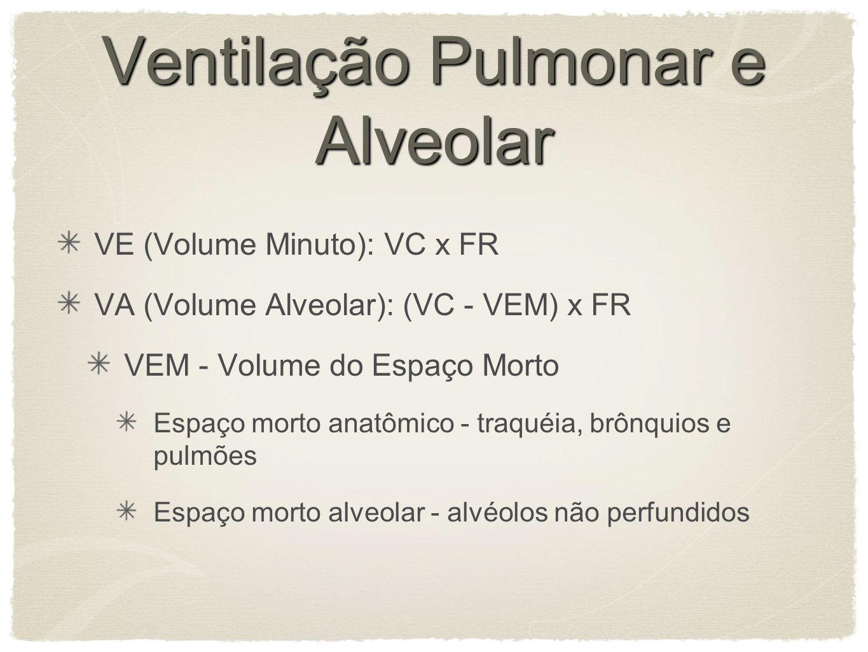 Ventilação Pulmonar e Alveolar VE (Volume Minuto): VC x FR VA (Volume Alveolar): (VC - VEM) x FR VEM - Volume do Espaço Morto Espaço morto anatômico - traquéia, brônquios e pulmões Espaço morto alveolar - alvéolos não perfundidos