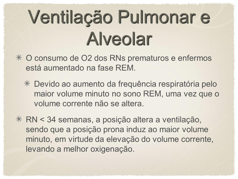 Ventilação Pulmonar e Alveolar O consumo de O2 dos RNs prematuros e enfermos está aumentado na fase REM.