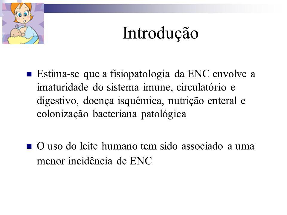 Introdução Estima-se que a fisiopatologia da ENC envolve a imaturidade do sistema imune, circulatório e digestivo, doença isquêmica, nutrição enteral