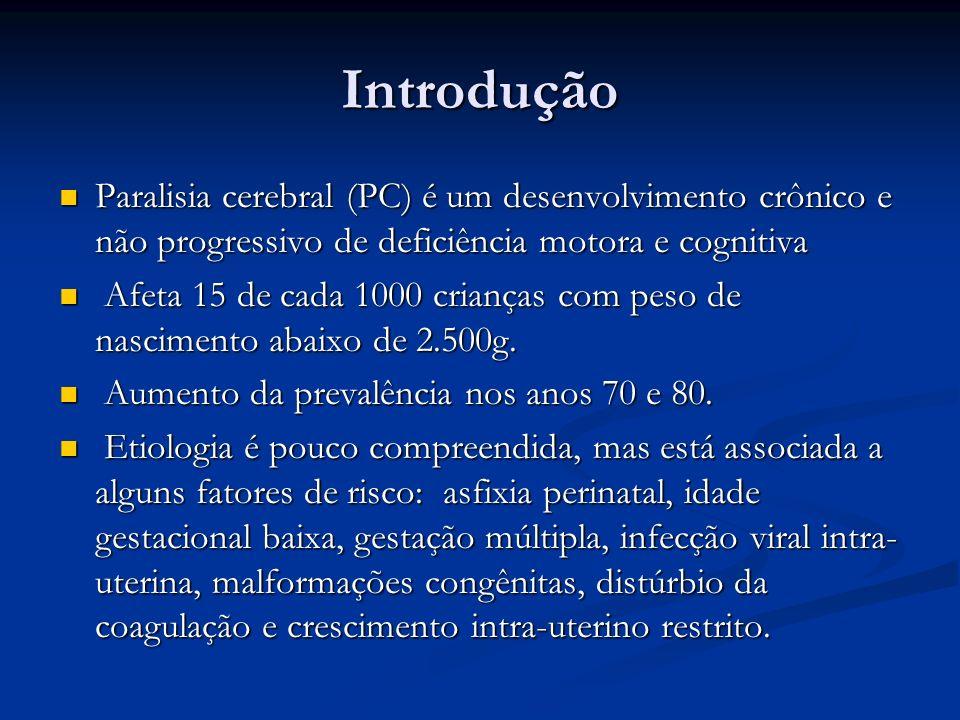 Introdução Paralisia cerebral (PC) é um desenvolvimento crônico e não progressivo de deficiência motora e cognitiva Paralisia cerebral (PC) é um desen