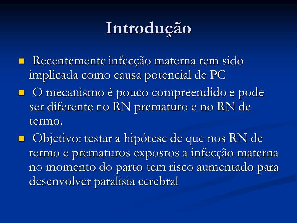 Discussão Há vários estudos sobre a associação entre infecção materna e PC em pacientes prematuros.