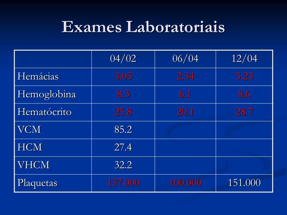Exames Laboratoriais 04/0206/0412/04 Hemácias3.032.343.23 Hemoglobina8.36.18.6 Hematócrito25.820.128.7 VCM85.2 HCM27.4 VHCM32.2 Plaquetas137.000100.00