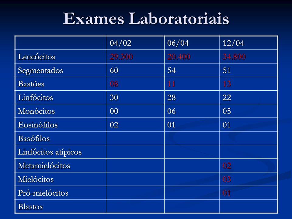 04/0206/0412/04 Leucócitos29.30020.40034.800 Segmentados605451 Bastões081113 Linfócitos302822 Monócitos000605 Eosinófilos020101 Basófilos Linfócitos atípicos Metamielócitos02 Mielócitos03 Pró-mielócitos01 Blastos