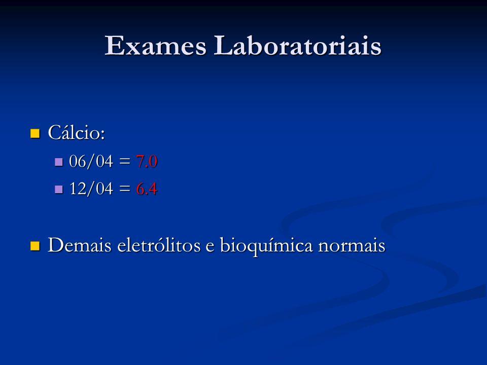Exames Laboratoriais Cálcio: Cálcio: 06/04 = 7.0 06/04 = 7.0 12/04 = 6.4 12/04 = 6.4 Demais eletrólitos e bioquímica normais Demais eletrólitos e bioquímica normais