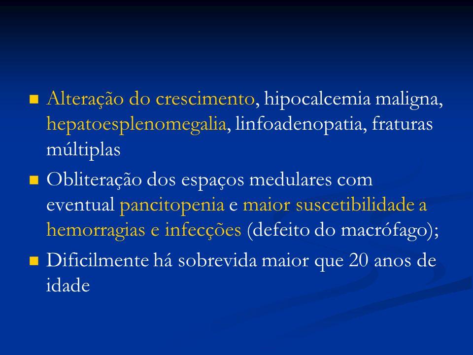 Alteração do crescimento, hipocalcemia maligna, hepatoesplenomegalia, linfoadenopatia, fraturas múltiplas Obliteração dos espaços medulares com eventual pancitopenia e maior suscetibilidade a hemorragias e infecções (defeito do macrófago); Dificilmente há sobrevida maior que 20 anos de idade