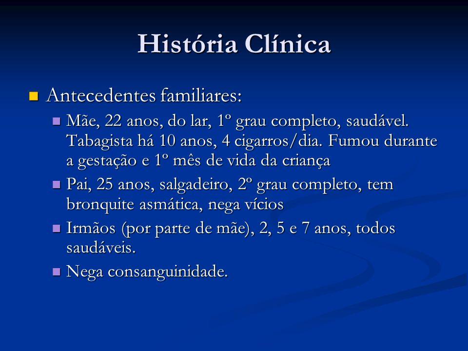 História Clínica Antecedentes familiares: Antecedentes familiares: Mãe, 22 anos, do lar, 1º grau completo, saudável.