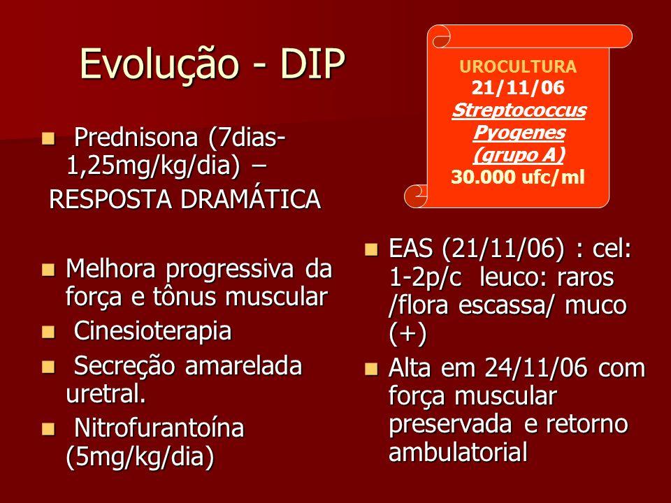Evolução - DIP Evolução - DIP Prednisona (7dias- 1,25mg/kg/dia) – Prednisona (7dias- 1,25mg/kg/dia) – RESPOSTA DRAMÁTICA RESPOSTA DRAMÁTICA Melhora pr