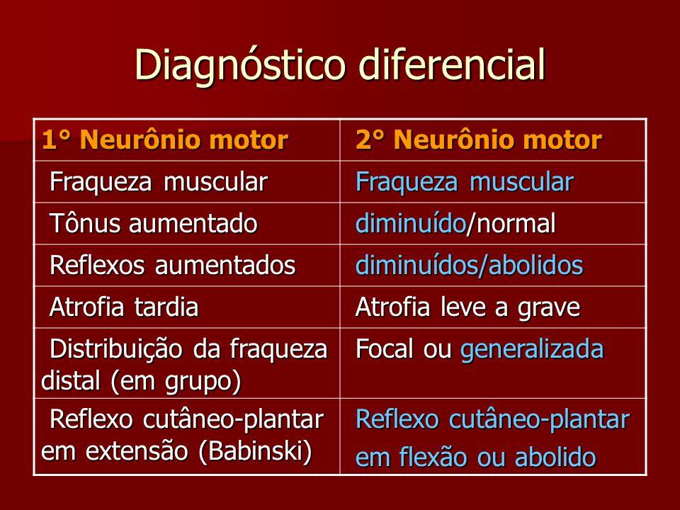 Diagnóstico diferencial 1° Neurônio motor 2° Neurônio motor 2° Neurônio motor Fraqueza muscular Fraqueza muscular Tônus aumentado Tônus aumentado dimi