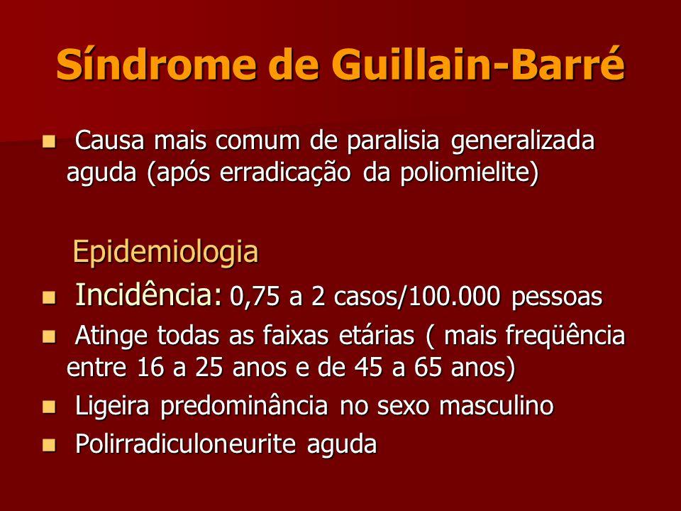 Síndrome de Guillain-Barré Causa mais comum de paralisia generalizada aguda (após erradicação da poliomielite) Causa mais comum de paralisia generaliz