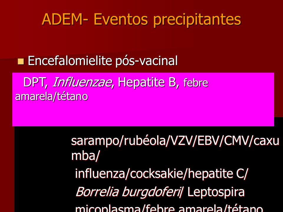 ADEM- Eventos precipitantes Encefalomielite pós-vacinal Encefalomielite pós-vacinal Encefalomielite pós-infecciosa Encefalomielite pós-infecciosa Drog