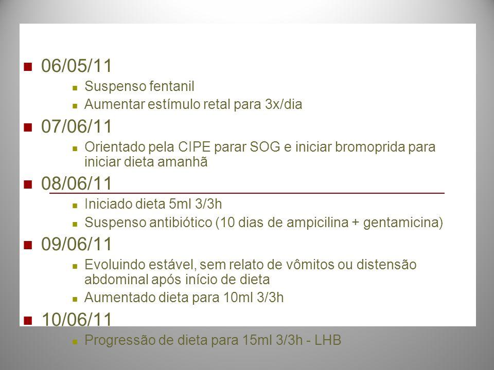 06/05/11 Suspenso fentanil Aumentar estímulo retal para 3x/dia 07/06/11 Orientado pela CIPE parar SOG e iniciar bromoprida para iniciar dieta amanhã 0