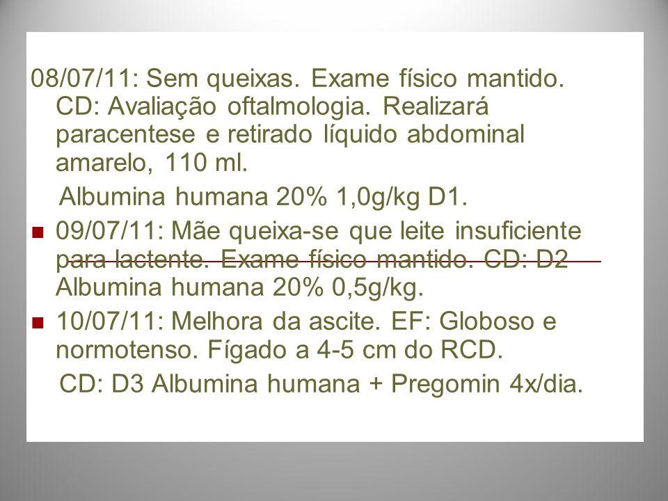 08/07/11: Sem queixas. Exame físico mantido. CD: Avaliação oftalmologia. Realizará paracentese e retirado líquido abdominal amarelo, 110 ml. Albumina
