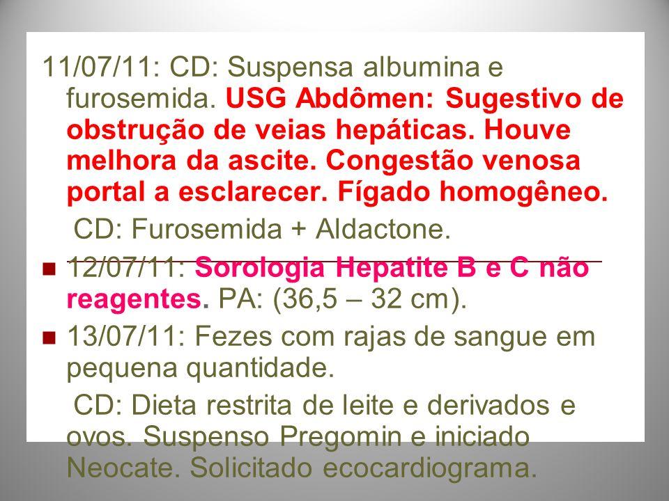 11/07/11: CD: Suspensa albumina e furosemida. USG Abdômen: Sugestivo de obstrução de veias hepáticas. Houve melhora da ascite. Congestão venosa portal