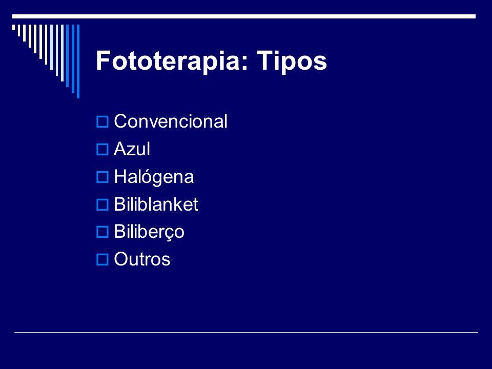 Tipos de Fototerapia n% Lâmpada Azul 48,5 Lâmpada Branca 817 Mista (branca/azul) 1327,7 Lâmpada Halógena 2246,8 Total 47100 Tabela 2 – Tipos de Fototerapias usadas na Unidade Neonatal do Hospital Regional da Asa Sul.