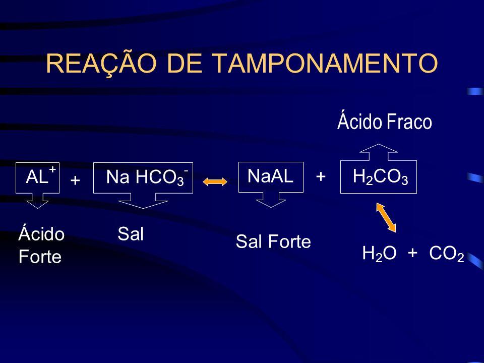 REAÇÃO DE TAMPONAMENTO Ácido Forte H 2 O + CO 2 Sal AL + NaALH 2 CO 3 + Na HCO 3 - + Sal Forte Ácido Fraco