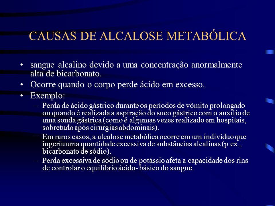 CAUSAS DE ALCALOSE METABÓLICA sangue alcalino devido a uma concentração anormalmente alta de bicarbonato. Ocorre quando o corpo perde ácido em excesso