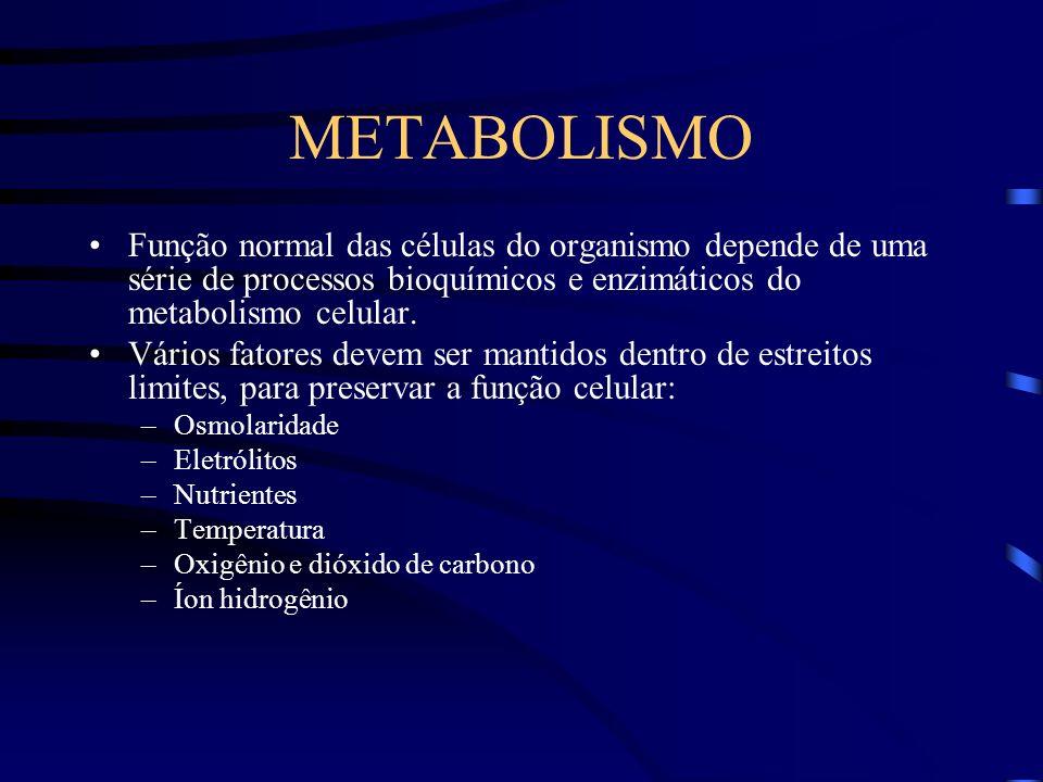 METABOLISMO Função normal das células do organismo depende de uma série de processos bioquímicos e enzimáticos do metabolismo celular. Vários fatores