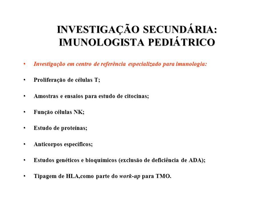 INVESTIGAÇÃO SECUNDÁRIA: IMUNOLOGISTA PEDIÁTRICO Investigação em centro de referência especializado para imunologia:Investigação em centro de referênc
