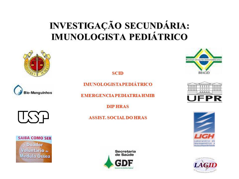 INVESTIGAÇÃO SECUNDÁRIA: IMUNOLOGISTA PEDIÁTRICO SCID IMUNOLOGISTA PEDIÁTRICO EMERGENCIA PEDIATRIA HMIB DIP HRAS ASSIST. SOCIAL DO HRAS