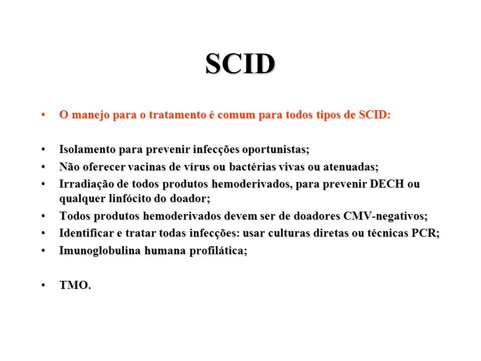 SCID O manejo para o tratamento é comum para todos tipos de SCID:O manejo para o tratamento é comum para todos tipos de SCID: Isolamento para prevenir