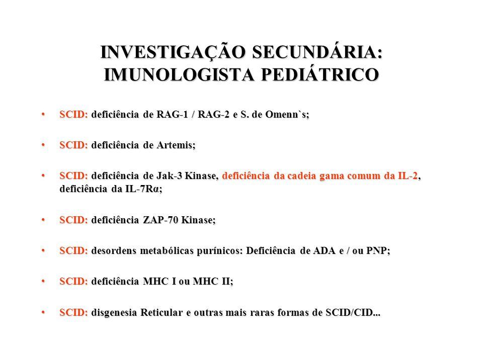 INVESTIGAÇÃO SECUNDÁRIA: IMUNOLOGISTA PEDIÁTRICO SCID: deficiência de RAG-1 / RAG-2 e S. de Omenn`s;SCID: deficiência de RAG-1 / RAG-2 e S. de Omenn`s