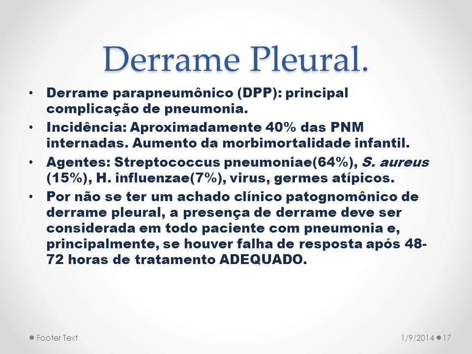 Derrame Pleural. Derrame parapneumônico (DPP): principal complicação de pneumonia. Incidência: Aproximadamente 40% das PNM internadas. Aumento da morb