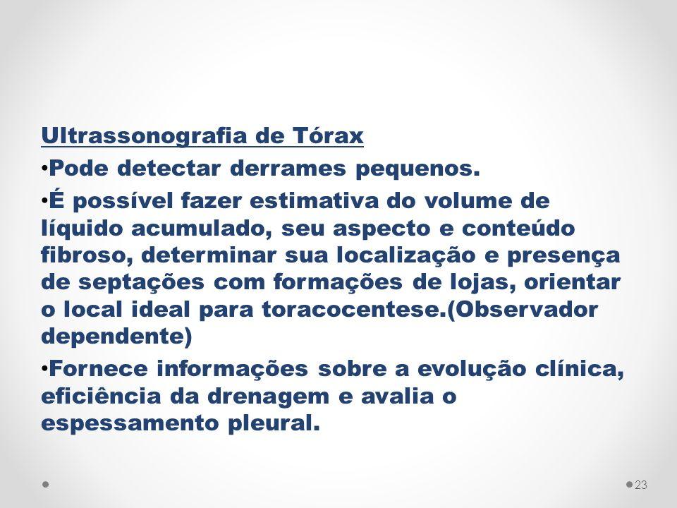 Ultrassonografia de Tórax Pode detectar derrames pequenos. É possível fazer estimativa do volume de líquido acumulado, seu aspecto e conteúdo fibroso,