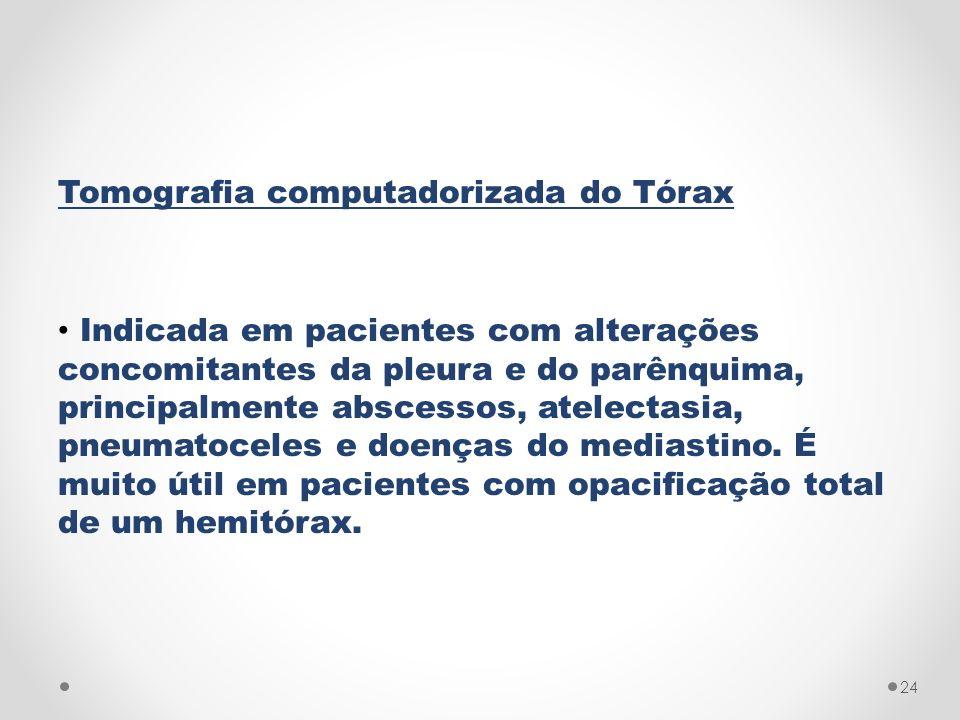 Tomografia computadorizada do Tórax Indicada em pacientes com alterações concomitantes da pleura e do parênquima, principalmente abscessos, atelectasi