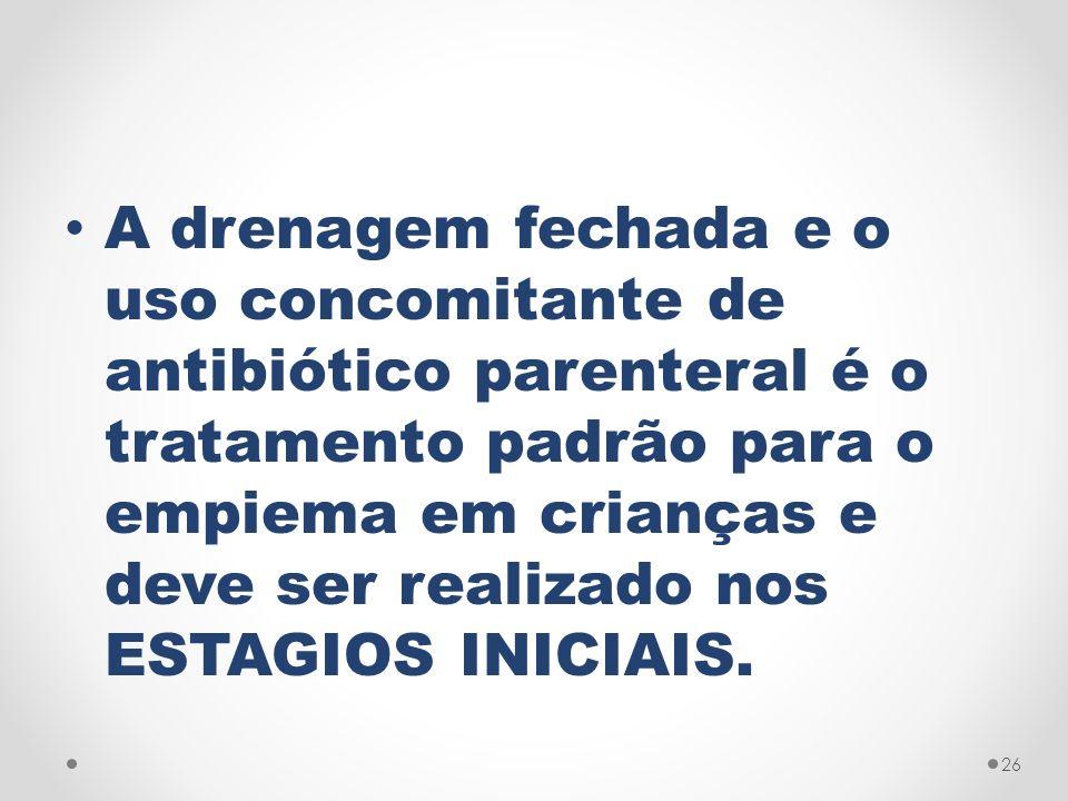A drenagem fechada e o uso concomitante de antibiótico parenteral é o tratamento padrão para o empiema em crianças e deve ser realizado nos ESTAGIOS I