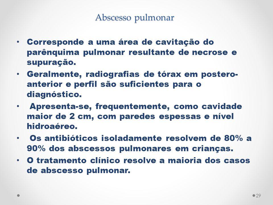 Abscesso pulmonar Corresponde a uma área de cavitação do parênquima pulmonar resultante de necrose e supuração. Geralmente, radiografias de tórax em p