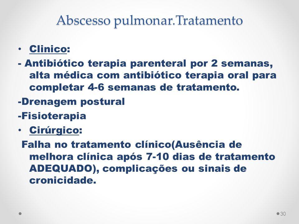 Abscesso pulmonar.Tratamento Clinico: - Antibiótico terapia parenteral por 2 semanas, alta médica com antibiótico terapia oral para completar 4-6 sema
