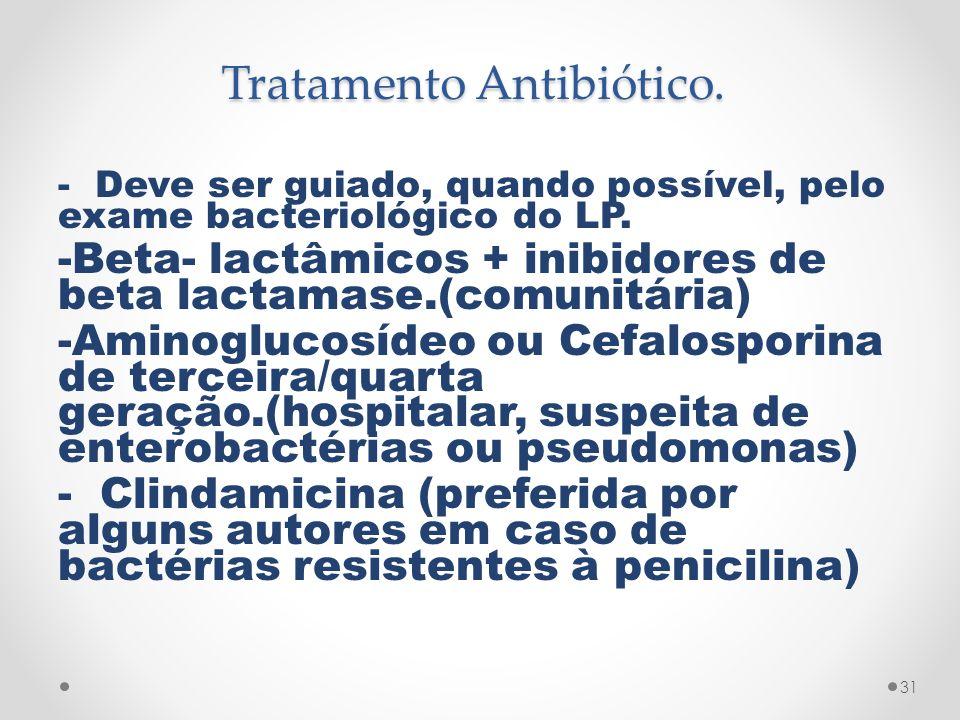 Tratamento Antibiótico. - Deve ser guiado, quando possível, pelo exame bacteriológico do LP. -Beta- lactâmicos + inibidores de beta lactamase.(comunit