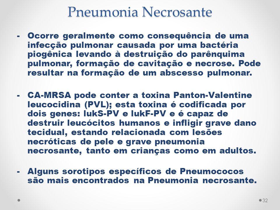 Pneumonia Necrosante -Ocorre geralmente como consequência de uma infecção pulmonar causada por uma bactéria piogênica levando à destruição do parênqui