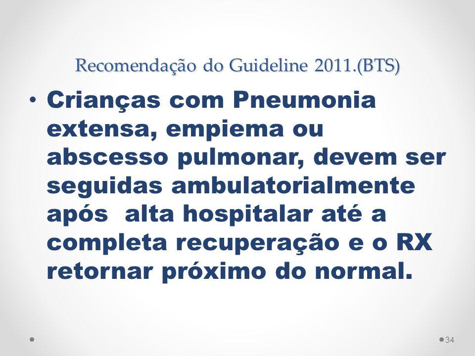 Recomendação do Guideline 2011.(BTS) Crianças com Pneumonia extensa, empiema ou abscesso pulmonar, devem ser seguidas ambulatorialmente após alta hosp