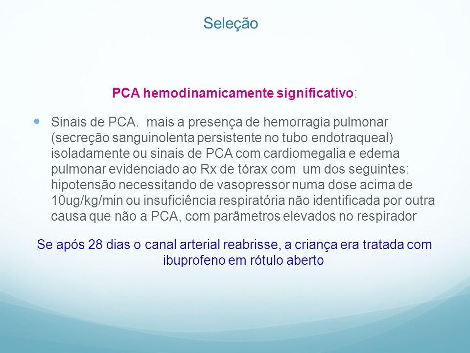 Seleção PCA hemodinamicamente significativo: Sinais de PCA. mais a presença de hemorragia pulmonar (secreção sanguinolenta persistente no tubo endotra
