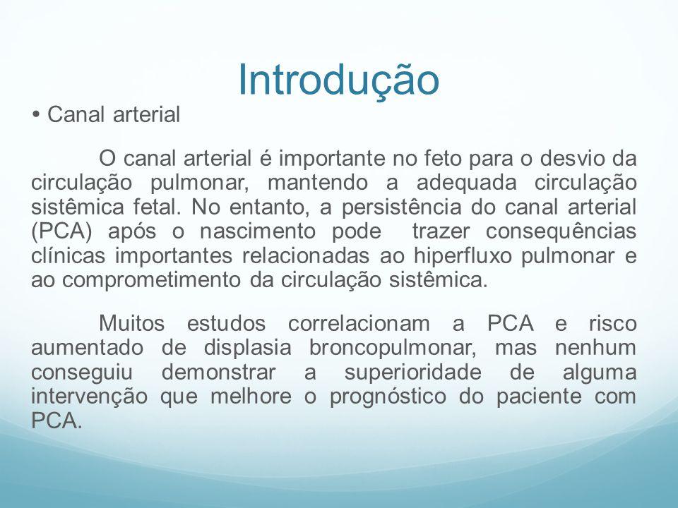 Introdução Canal arterial O canal arterial é importante no feto para o desvio da circulação pulmonar, mantendo a adequada circulação sistêmica fetal.