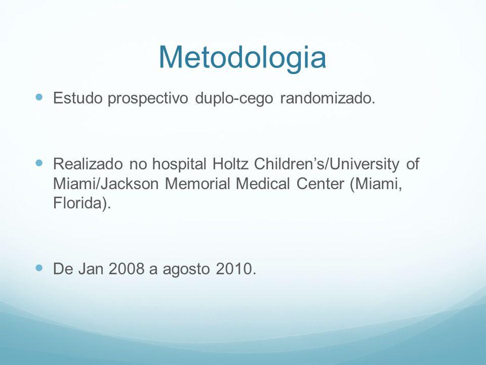 Metodologia Estudo prospectivo duplo-cego randomizado. Realizado no hospital Holtz Childrens/University of Miami/Jackson Memorial Medical Center (Miam