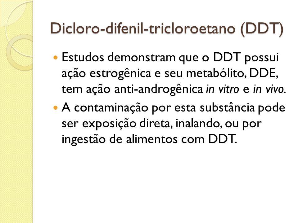 Dicloro-difenil-tricloroetano (DDT) Estudos demonstram que o DDT possui ação estrogênica e seu metabólito, DDE, tem ação anti-androgênica in vitro e i