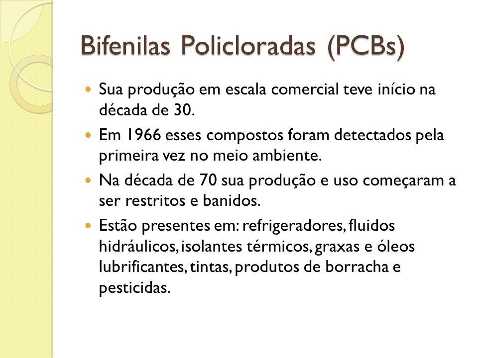 Bifenilas Policloradas (PCBs) Sua produção em escala comercial teve início na década de 30. Em 1966 esses compostos foram detectados pela primeira vez